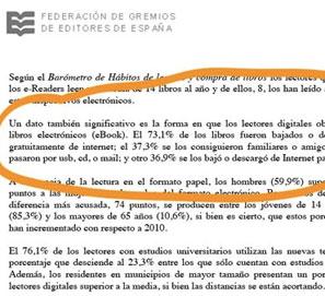 Rectificación en el Barómetro de hábitos de lectura 2011