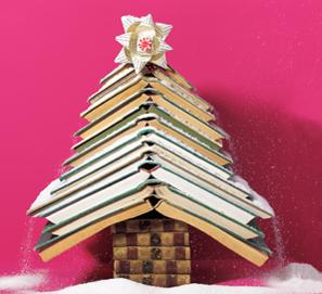 Árboles de Navidad hechos con libros
